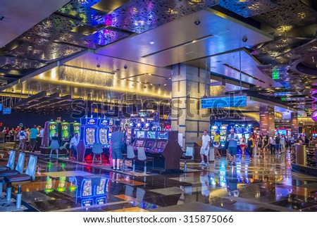 LAS VEGAS - SEP 03 : The interior of Aria Resort and Casino in Las Vegas onSeptember 03 2015. The Aria was opened on 2009 and is the world's largest hotel to receive LEED Gold certification - stock photo