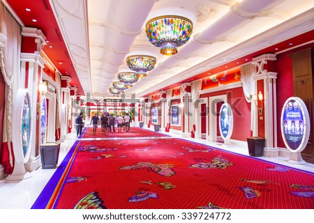 LAS VEGAS - SEP 10 : The interior of Encore Hotel and casino in Las Vegas on September 10 2015. The hotel has 2,716 rooms and opened in 2005. - stock photo