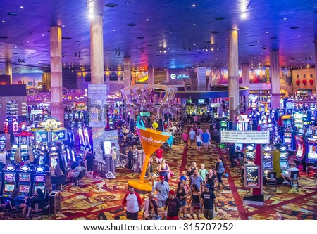 LAS VEGAS - SEP 03 : The interior of New York-New York Hotel & Casino in Las Vegas on September 03 , 2015. This hotel simulates the real New York City street and It was opened in 1997.