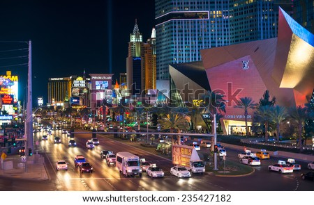LAS VEGAS - SEP 15 : View of the strip on September 15 , 2014 in Las Vegas. The Las Vegas Strip is an approximately 4.2-mile (6.8 km) stretch of Las Vegas Boulevard in Clark County, Nevada. - stock photo