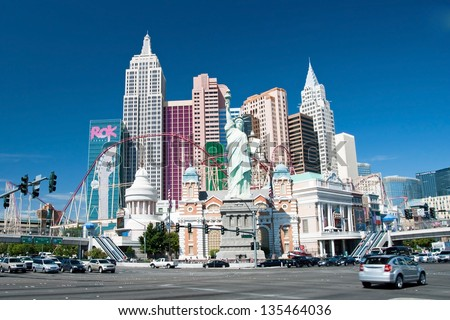 LAS VEGAS - SEPTEMBER 28:- New York-New York on the Las Vegas Strip on September 28, 2011 in Las Vegas, USA. Replica of the Statue of Liberty is 150 ft (46 m) and the property opened in 1997. - stock photo