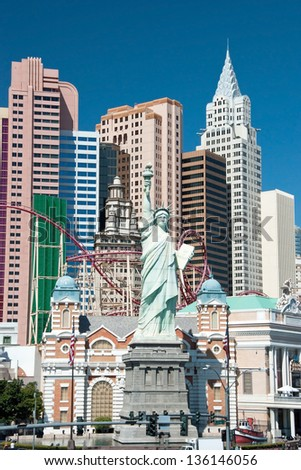 LAS VEGAS - SEPTEMBER 28: New York-New York on the Las Vegas Strip on September 28, 2011 in Las Vegas, USA. Replica of the Statue of Liberty is 150 ft (46 m) and the property opened in 1997. - stock photo