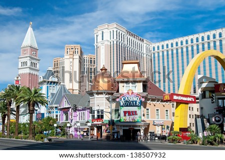 LAS VEGAS - SEPTEMBER 28, 2011 -  Venetian Casino Hotel Resort on Las Vegas Strip on September 28, 2011 in Las Vegas, USA. This hotel features  lifelike replica tower of St Mark's Campanile in Venice - stock photo