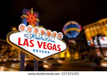 Las vegas sign and strip street background. - stock photo