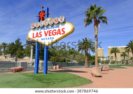 Las Vegas sign, entrance to Las Vegas Nevada, which considers itself the entertainment capital of the world - stock photo