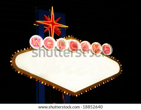 las vegas sign that is blank in the middle with white space open for any text with the icon neon sign from las vegas - stock photo