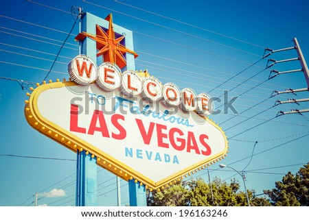 Las Vegas sign. Welcome to Fabulous Las Vegas, Nevada sign.  - stock photo