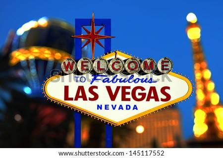 Las Vegas Sign with Vegas Strip in background - stock photo