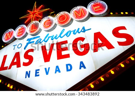 Las Vegas (Sin City), famous welcome sign - stock photo