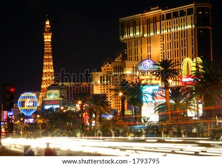 Las Vegas Street Scene with blurred traffic - stock photo