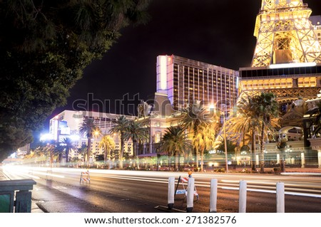 Las Vegas Strip At Night. Light Trails Because of Long Exposure Used.Horizontal Image Orientation - stock photo