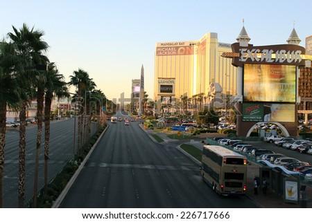 Las Vegas Strip Boulevard in October 2014 - stock photo