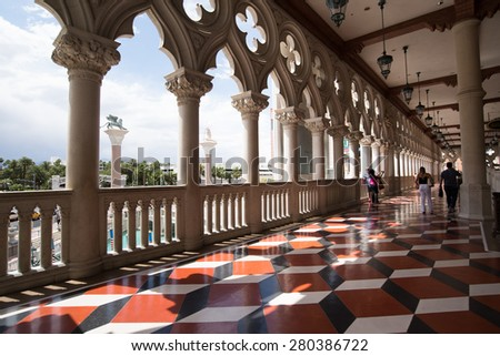 Las Vegas Strip, May 21, 2015: The interior of the Venetian hotel & Casino in Las Vegas. With more than 4000 suites it's one of the most famous hotels in the world.  - stock photo