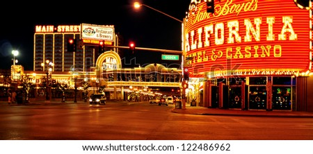 LAS VEGAS, US - OCTOBER 13: California Hotel and Casino at night on October 13, 2011 in Vegas, US. Also known as the Cal, is connected to Main Street Station Hotel, Casino and Brewery by a walkway - stock photo