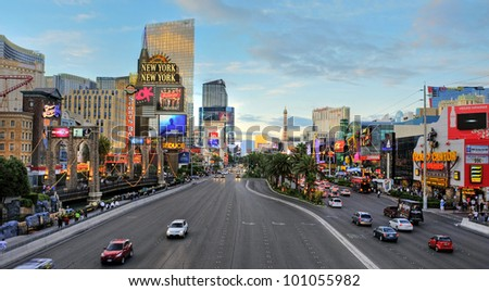 LAS VEGAS, US - OCTOBER 11: Sunset in Las Vegas Strip on October 11, 2011 in Las Vegas, US. 19 of the 25 largest hotels of the world are on the Strip - stock photo