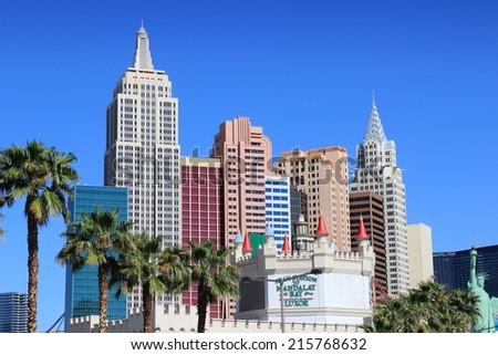 LAS VEGAS, USA - APRIL 14, 2014: New York New York resort view in Las Vegas. The complex has 2,024 rooms. - stock photo