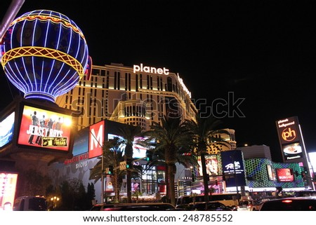 LAS VEGAS, USA - AUG 5 2013: Las Vegas Strip by night. Building and billboard illuminated