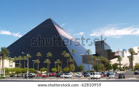 LAS VEGAS, USA - AUGUST 14: Luxor Hotel and Resort on August 14 2008 on the Las Vegas Strip, USA. The highly recognizable building is a part of the casino and resort attractions in Las Vegas. - stock photo