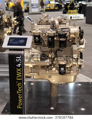 Las-Vegas, USA, Feb 2, 2016: John Deere engine PowerTech EWX 4,5L at show World of concrete in Las-Vegas, Nevada