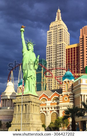 LAS VEGAS USA JUL 8 2015: Replica of Statue of Liberty and New York New York hotel and casino one of the top tourist destinations in the world. About 40 million people visiting the city each year.  - stock photo