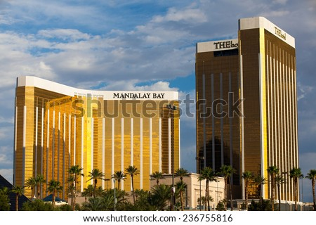 Las Vegas, USA - JULY 7 ,2011:Mandalay Bay in Las Vegas. Mandalay Bay Resort and Casino in Las Vegas offers unmatched luxury, fine dining, renowned entertainment, personal service... - stock photo