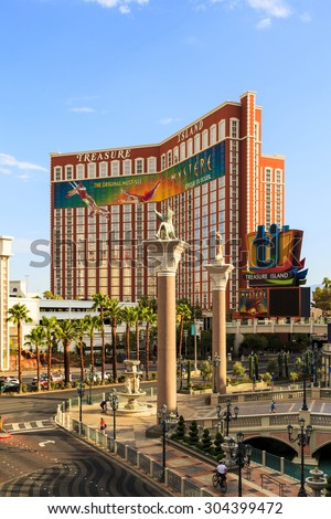 LAS VEGAS, USA - JULY 7 2015: Treasure island hotel and casino in Las Vegas, Las Vegas is one of the top tourist destinations in the world. About 40 million people visiting the city each year.  - stock photo