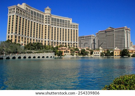 LAS VEGAS, USA - MARCH 19: Bellagio hotel and casino on March 19, 2013 in Las Vegas, USA. Las Vegas is one of the top tourist destinations in the world. - stock photo