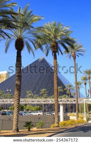 LAS VEGAS, USA - MARCH 19: Luxor hotel and casino on March 19, 2013 in Las Vegas, USA. Las Vegas is one of the top tourist destinations in the world.  - stock photo