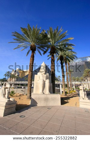 LAS VEGAS, USA - MARCH 19: Replica of ancient egyptian statue at Luxor hotel and casino on March 19, 2013 in Las Vegas, USA. Las Vegas is one of the top tourist destinations in the world.  - stock photo