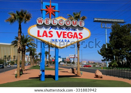 LAS VEGAS, USA - MARCH 19: Welcome to Fabulous Las Vegas sign on March 19, 2013 in Las Vegas, USA. Las Vegas is one of the top tourist destinations in the world. - stock photo
