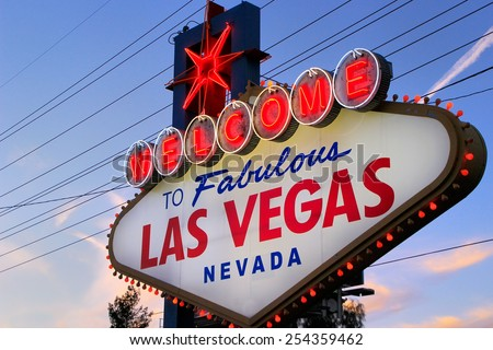 LAS VEGAS, USA - MARCH 19: Welcome to Fabulous Las Vegas sign with lights on March 19, 2013 in Las Vegas, USA. Las Vegas is one of the top tourist destinations in the world. - stock photo