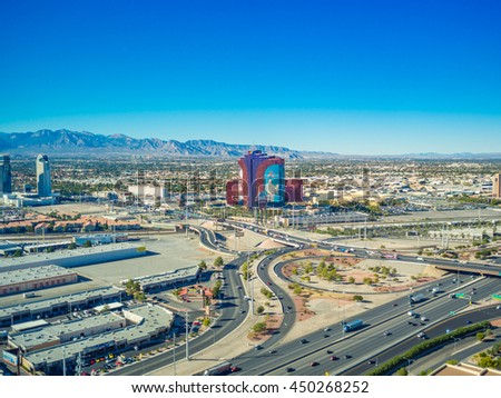 LAS VEGAS, USA - November 12: Aerial view of Las Vegas strip on November 12, 2015 in Las Vegas, USA. Las Vegas is one of the top tourist destinations in the world - stock photo