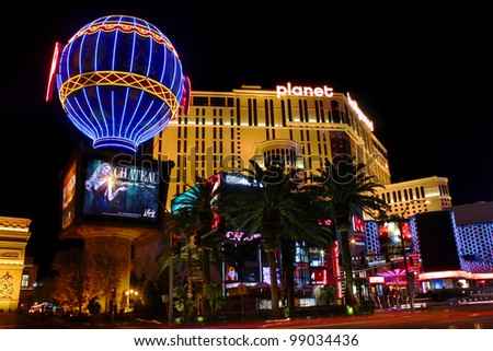 Las Vegas, USA - November 30, 2011: The Planet Hollywood Resort and Casino and the Montgolfier Balloon Replica at the Paris Las Vegas Hotel and Casino seen on November 30, 2011 in Las Vegas. - stock photo