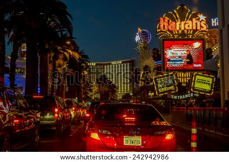 LAS VEGAS, USA OCTOBER 6: Las Vegas Boulevard on October 6, 2014 in Las Vegas. Six of the world's ten largest hotels are situated on Las Vegas Boulevard.