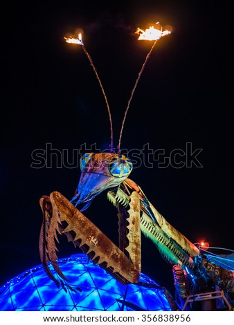 LAS VEGAS, USA - SEPTEMBER 09: Fremont Street on September 09, 2015 in Las Vegas, United States. It is an renowned major resort city known primarily for gambling, shopping, fine dining and nightlife. - stock photo