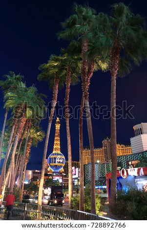 Las Vegas, USA - September 12, 2017: Las Vegas Strip. Many of the largest hotel, casino, and resort properties in the world are located on the Las Vegas Strip.