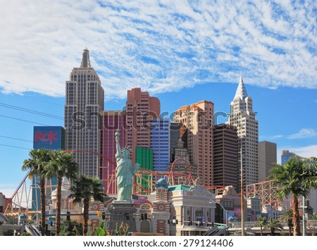 "LAS VEGAS, USA - SEPTEMBER 30, 2009: Magnificent hotel ""New York"" in Las Vegas. Eternal celebration of life in the sun"