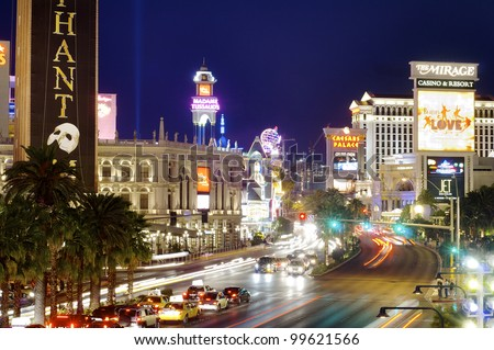 LAS VEGAS, USA - SEPTEMBER 1: Neon on September 1, 2007 in Las Vegas: view of Las Vegas Boulevard, with 4.2 miles in length is the most popular street of the city and is packed with casinos and hotels - stock photo