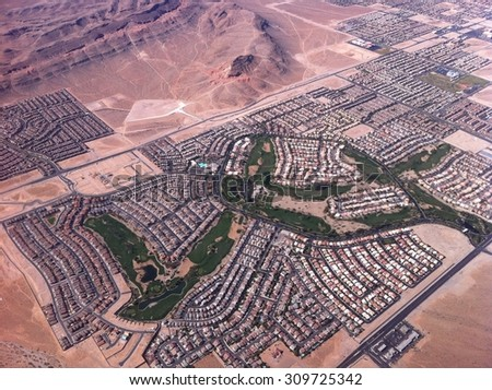 Las Vegas view from the airplane. - stock photo