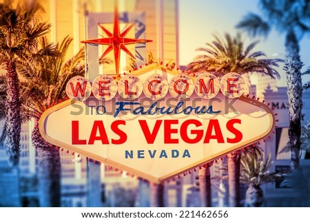 Las Vegas Welcomes You. Iconic Las Vegas Boulevard Sign Closeup. Nevada, United States. - stock photo