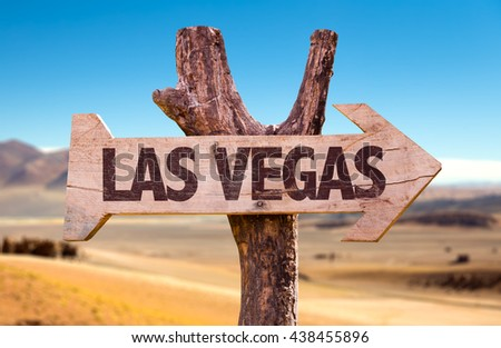 Las Vegas wooden sign with a desert background - stock photo