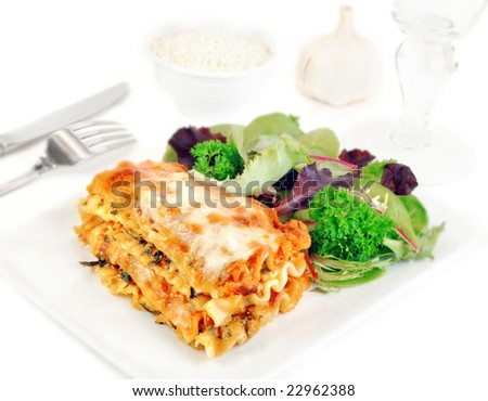 Lasagna and salad on a white plate with romano cheese. - stock photo