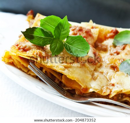 Lasagna italian recipe with bolognese sauce, layer pasta and basil leaves - stock photo