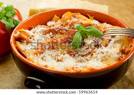 lasagna on bowl - stock photo