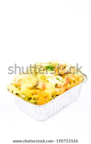 Lasagna seafood on white background - stock photo