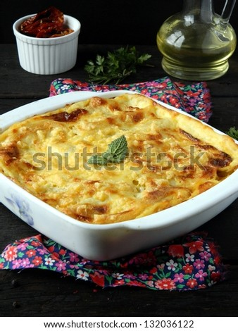 Lasagna with squash and tomatoes - stock photo