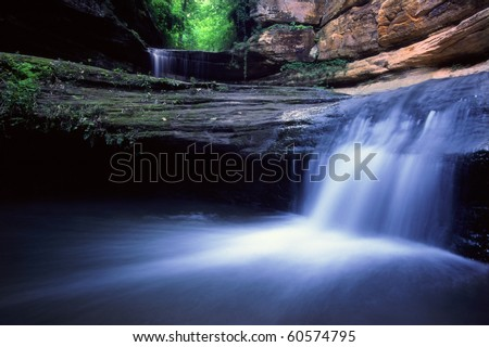 Lasalle Falls at Starved Rock State Park in central Illinois - stock photo