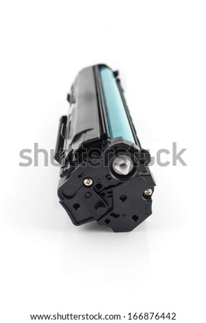 laser cartridge isolated on white background - stock photo