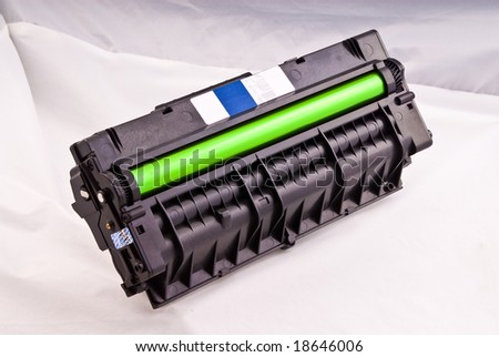 laser cartridge with green drum close up view