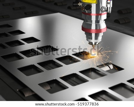 laser cutting machine 3d rendering